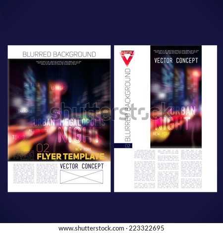 Abstract vector template design flyer, brochure, Web sites, page, leaflet, with colorful blur backgrounds city night, logo and text separately. - stock vector