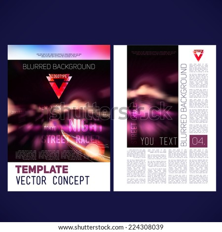 Abstract vector template design flyer, brochure, Web sites, page, leaflet, with colorful blur backgrounds city at night, logo and text separately. - stock vector