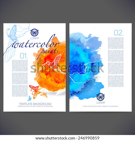 Abstract vector template design with colored butterflies and birds,flyer brochure,Web sites,page,leaflet,with colorful watercolor backgrounds, icons, logo and text separately for you. - stock vector
