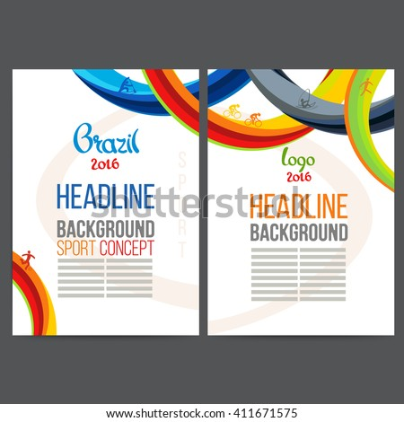 Abstract vector template design with colored lines and waves. Concept brochure, Web sites, page, leaflet, logo and text separately. Sport concept banners.Sign brazil 2016. - stock vector
