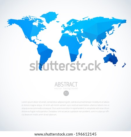 Abstract vector template with world map World map blank. World map polygon vector. World map flat. World map template. World map triangle object. World map eps.  - stock vector