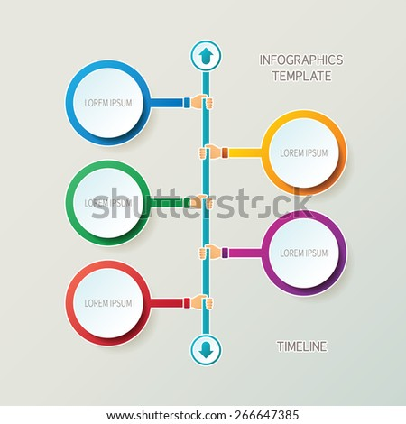Abstract vector timeline infographic template in 3D style for layout workflow scheme, numbered options, chart or diagram - stock vector