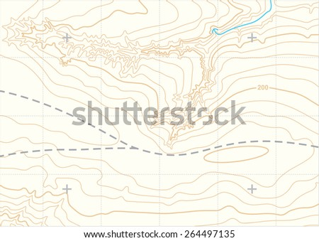 Abstract vector topographic map - stock vector