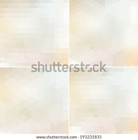 Abstract vector trendy light beige geometric triangular and hexagonal patterns collection. Modern polygonal backgrounds. Colorful mosaic. - stock vector