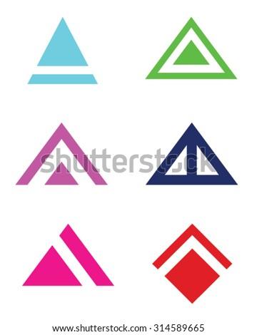 Abstract Vector Triangle and Arrowhead Set - stock vector