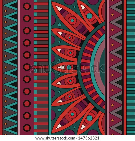 Abstract vector tribal ethnic background pattern - stock vector