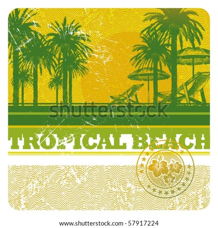 Abstract vector tropical beach with palms, chair and umbrella - stock vector