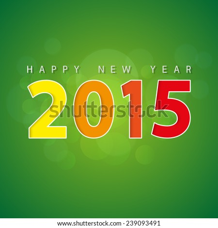 Abstract vector wallpaper background happy new year 2015 green colorful - stock vector