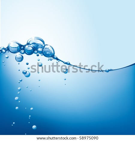 abstract vector water wave with bubbles - stock vector