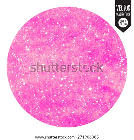 Abstract vector watercolor pink background with white splashes. Circle silhouette.