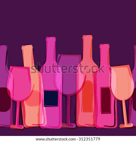 Abstract vector watercolor seamless background. Red, pink, purple wine bottles and glasses. Creative concept for bar menu, party, alcohol drinks, holidays, wine list, flyer, brochure, poster, banner.