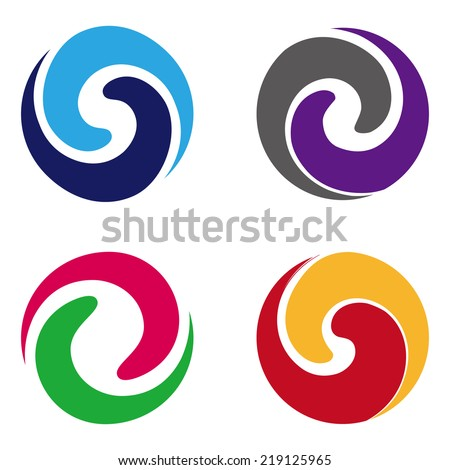 Abstract vector wave logo template set. Design round element. You can use in the media, mobile, water, financial, mechanical, science and other commercial image.  - stock vector