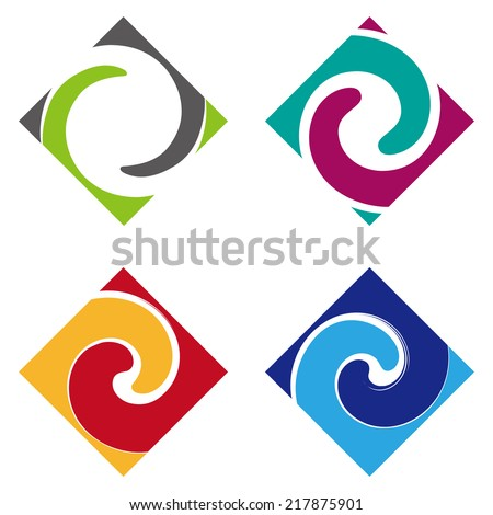 Abstract vector wave logo template set. Design square element. You can use in the media, mobile, water, financial, mechanical, science and other commercial image.  - stock vector