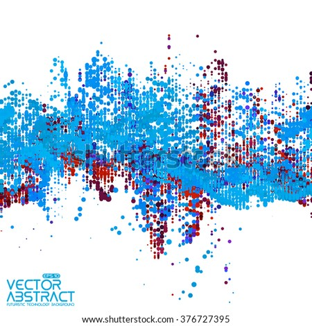 Abstract vector wave mesh background. Noisy point array. Futuristic style card. Elegant background for business presentations. Audio wave made of points. Colorful dots. - stock vector
