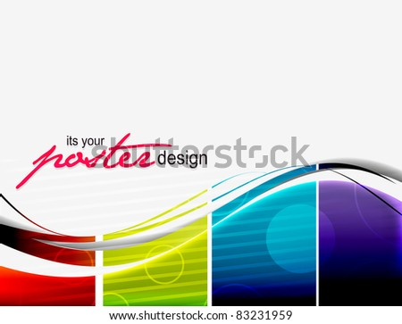 abstract vector wave poster design. - stock vector
