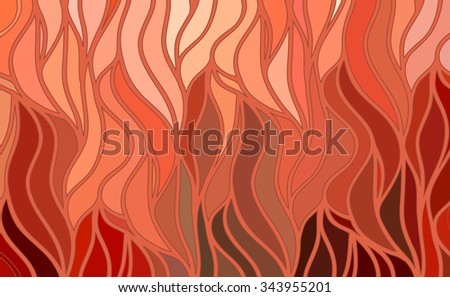 Abstract vector wave red background of doodle hand drawn lines - stock vector