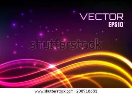 Abstract vector wavy background, night lights, colorful glowing curves, eps10 - stock vector