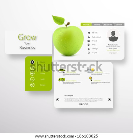 Abstract Vector white-green website with green apple  - stock vector