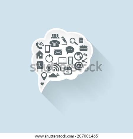 Abstract Vector White Speech Bubbles Set with icon