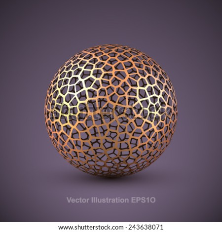 Abstract vector wireframe sphere. - stock vector