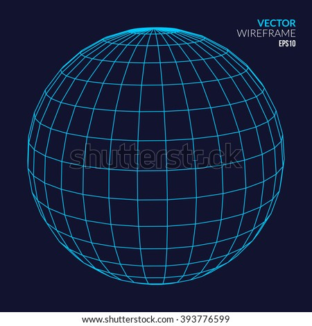 Abstract vector wireframe sphere glowing on dark background. - stock vector