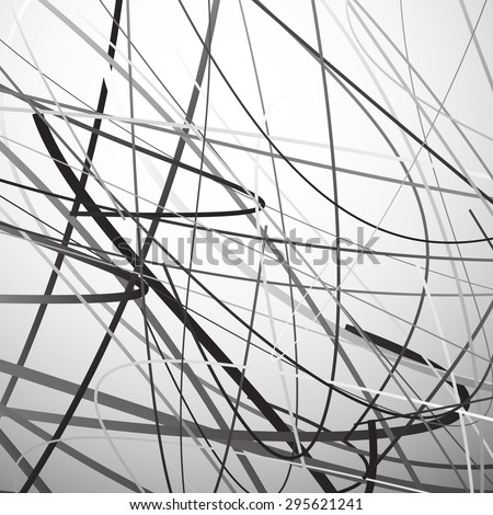 Abstract vector with wavy, undulating lines. Grayscale, monochrome contemporary art like graphics.
