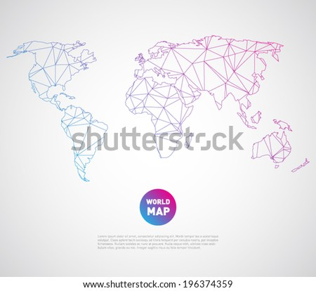 Abstract vector world map background with polygonal / triangle style design. Clean and modern for infographics or business design - stock vector