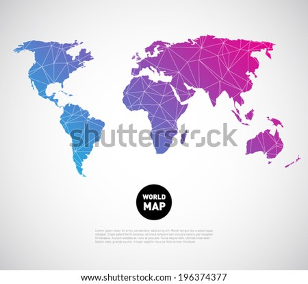 Modern Design World Map. Abstract vector world map background with polygonal  triangle style design Clean and modern for Vector World Map Background Polygonal Stock