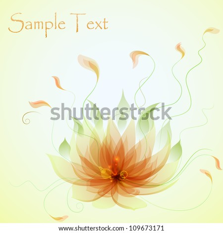 Abstract vector yellow lotus flower - stock vector