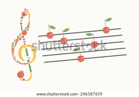 Abstract vegetarian music symphony. With clef and notes made of fresh fruits and vegetables with copy space. Idea - Healthy food lifestyle concept, Vegetarianism, Raw food, Summer, Organic farming. - stock vector