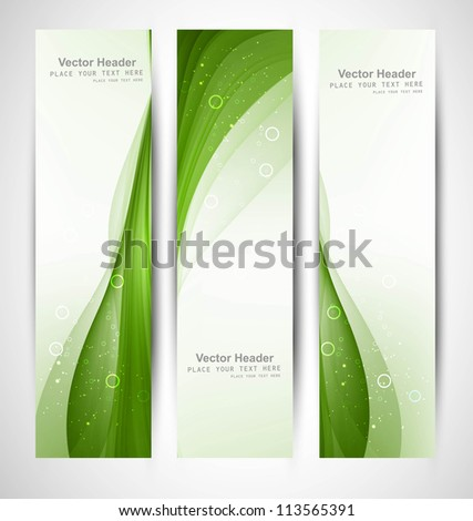 Abstract vertical header bright green wave vector - stock vector