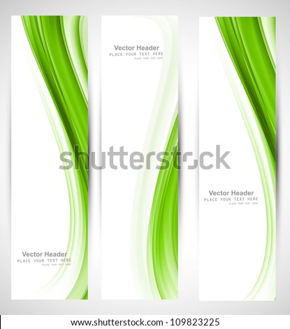 Abstract vertical header green wave vector design - stock vector
