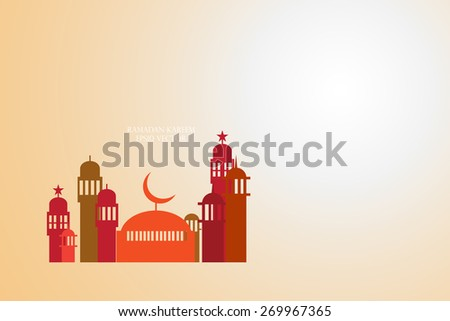 Abstract view of Mosque or Masjid, paper design, vector eps10 - stock vector