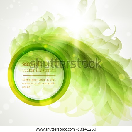 Abstract vintage background for design with green leafs and flowers. Retro eps 10 - stock vector