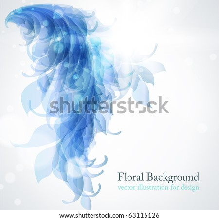 Abstract vintage blue background for design with leafs and flowers. Retro eps 10 - stock vector