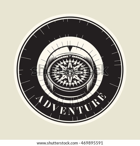 Abstract vintage compass with text Adventure, vector illustration
