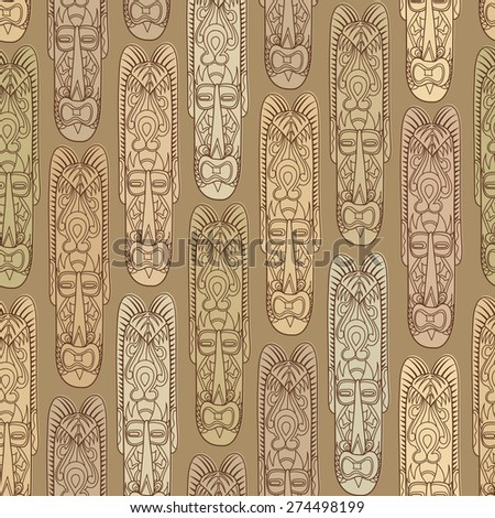 Abstract vintage ethnic pattern. Mask seamless background. - stock vector