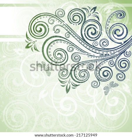 Abstract vintage floral grunge illustration - stock vector