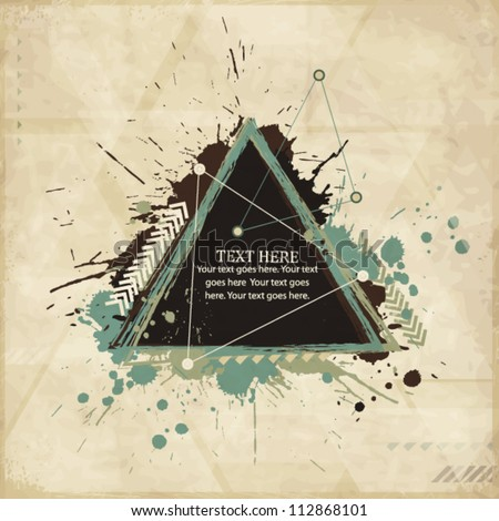 Abstract vintage geometric background with triangles - stock vector