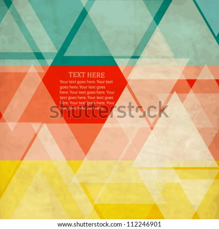 Abstract vintage geometric color-blocked template with triangles - stock vector