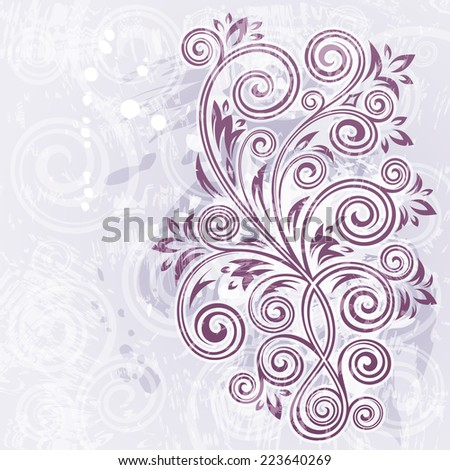 Abstract vintage purple floral grunge illustration. - stock vector
