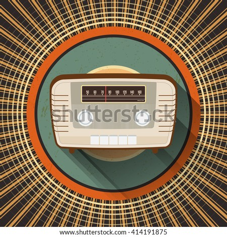Abstract vintage radio on retro circle background - vector illustration - stock vector