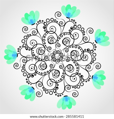 Abstract vintage retro floral background in vector with floral elements. Decorative pattern  for congratulation card. - stock vector