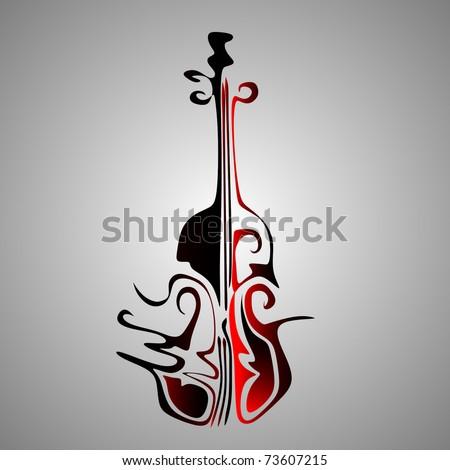 abstract violin - stock vector