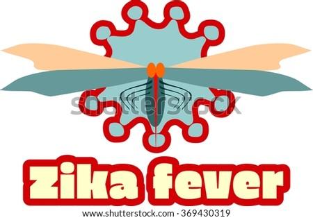 Abstract virus image on backdrop and zika fever text. Cartoon mosquito. Zika virus danger relative vector illustration - stock vector