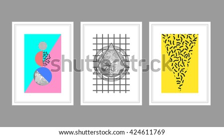 Abstract wall art poster vector set in memphis style with geometric shapes. Planets and textured triangles in white A4 frames.