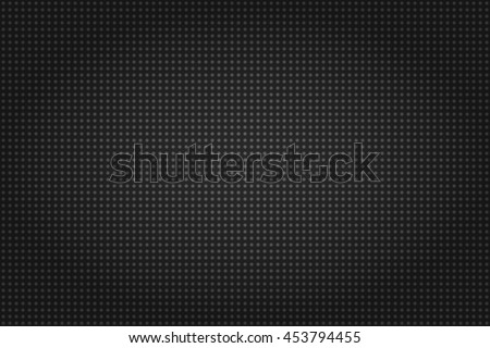 Abstract wallpaper or backdrop in dark colors with repeating very small pattern texture. Seamless pattern that looks like carbon texture consist of very small circles or dots with strong vignette.