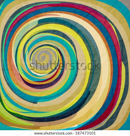 abstract wallpaper with colorful swirl on textured paper - stock vector