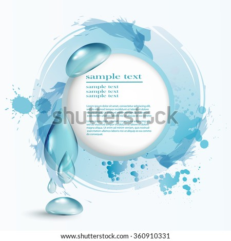 Abstract water drop background, Blue shiny water drops banners - stock vector