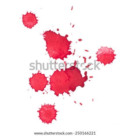 Abstract watercolor aquarelle hand drawn red drop splatter stain art paint on white background Vector illustration.